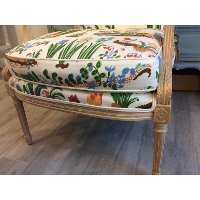 Beautiful Bergere Swedish/French style chair. The chair is in great condition,very steady and comfortable. Wonderful linen...