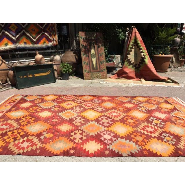 Burnt Orange Vintage Turkish Kilim Rug For Sale - Image 4 of 11