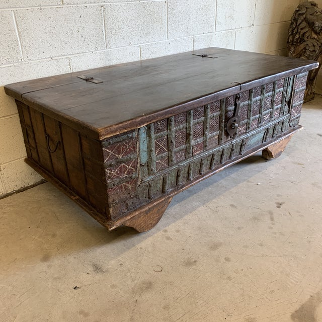 Rustic Jodang Strapped Metal Wedding Chest Trunk For Sale - Image 3 of 13