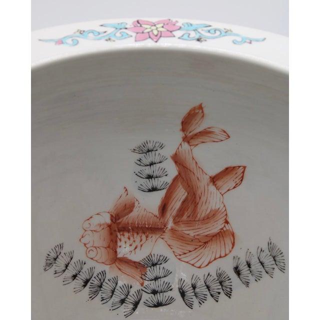 Ceramic Large Antique Chinese Porcelain Lotus Flower Koi Fish Bowl Garden Planter For Sale - Image 7 of 10