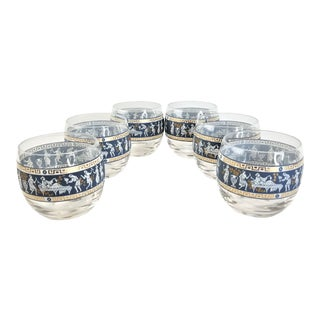 1960s Vintage Cera Etruscan Frieze Roly Poly Glasses - Set of 6 For Sale