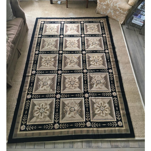 """Striking classical patterned Aubusson Rug by Stark Carpet. 6' x 9'3"""" Black border with shades of kahki, taupe, tan and..."""