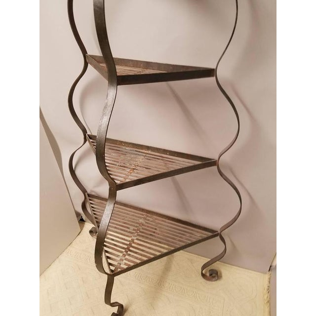 Impressive and Chic Hand Wrought Iron & Steel Pagoda Top 7 Ft. Plant Stand Etegere For Sale - Image 4 of 4
