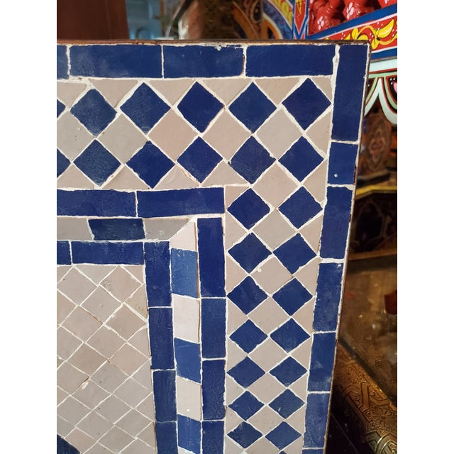 White & Blue Moroccan Mosaic Fountain For Sale - Image 4 of 6