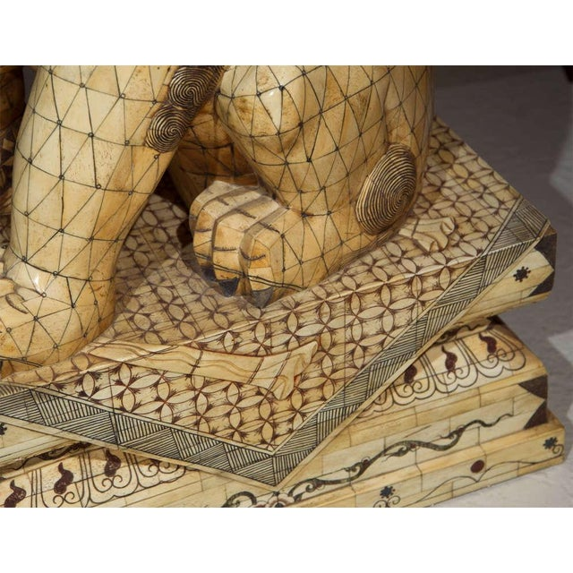 Wood Pair of Palace Sized Bone Foo Dogs Sculptures For Sale - Image 7 of 11