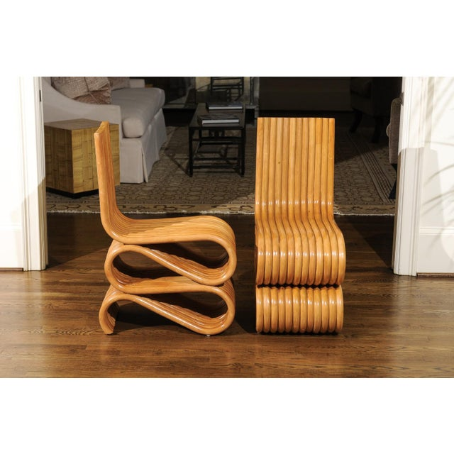 Rattan Exquisite Set of 8 Radiant Custom-Made Rattan Dining Chairs, Circa 1995 For Sale - Image 7 of 13