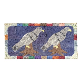 American Hooked Rug of Two Birds For Sale