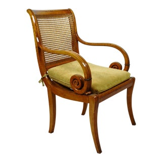 Charles X Bird's-Eye Maple Caned Armchairs - Set of 6 For Sale