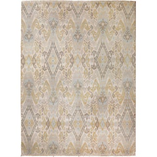 "Beige and Slate Ikat Area Rug - 8' X 10"" For Sale"