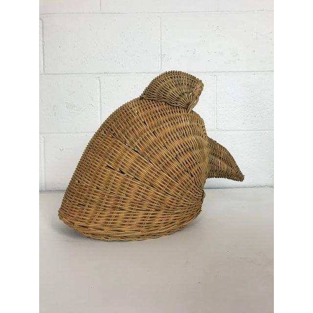 1970s Bohemian Wicker Owl Head For Sale - Image 5 of 8