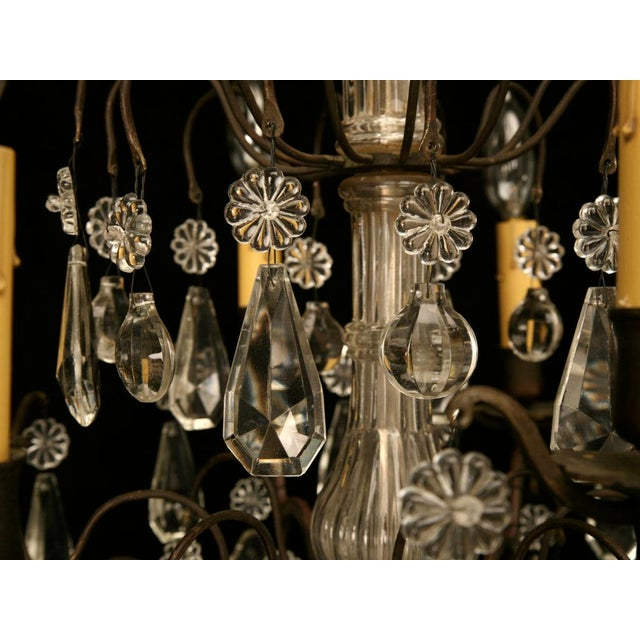 Metal Vintage French Crystal 8 Light Chandelier For Sale - Image 7 of 10