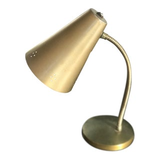 1940s Danish Solid Brass Desklamp For Sale