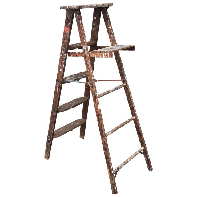 1950's Vintage Paint Splattered Painters Ladder - Image 1 of 7