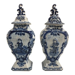 19th Century Blue and White Dutch Delft Ginger Jars For Sale
