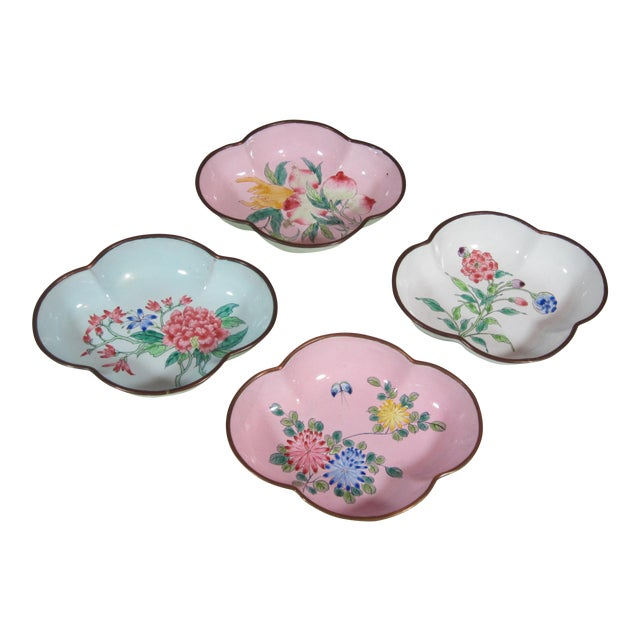 Floral Chinese Enamel Bowls - Set of 4 For Sale