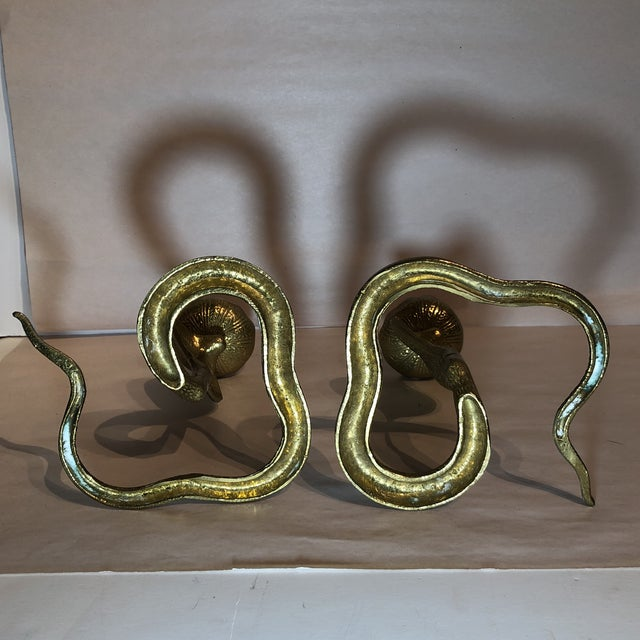 Brass King Cobra Candle Holders - a Pair For Sale - Image 10 of 11