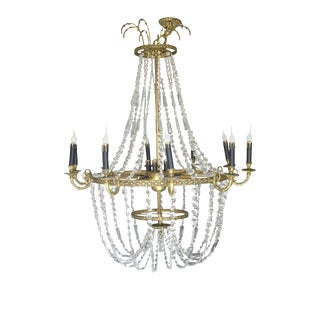Vintage Empire Style Brass Crystal Chandelier For Sale