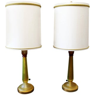 Mid-Century Modern Seguso for Marbro Pair of Amber Glass Lamps Original Shades For Sale