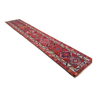 OVERSIZE Vintage Hand Knotted Turkish Runner For Sale