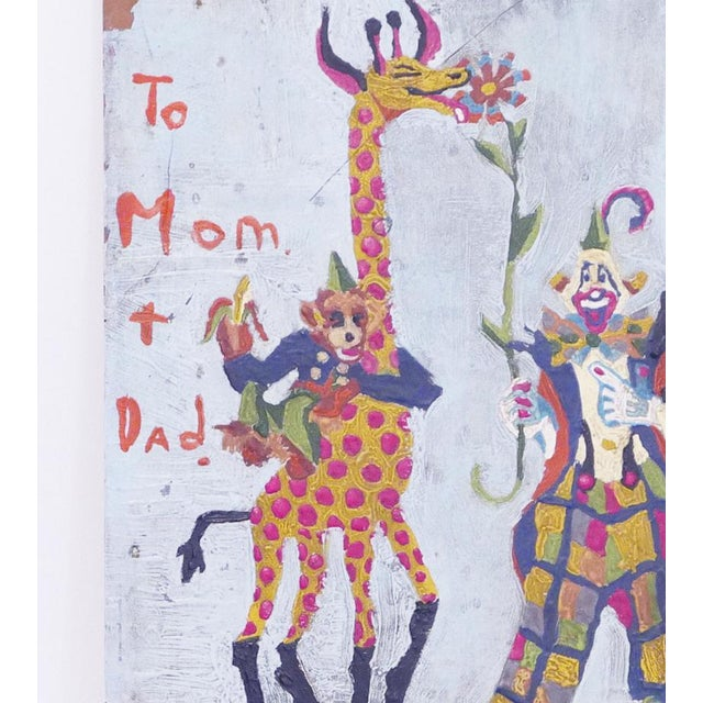 Figurative Clown, Giraffe and Monkey Circus Painting For Sale - Image 3 of 5
