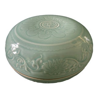 "Hand Carved Celadon Box 9.75"" D For Sale"