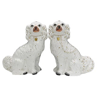 Antique English Staffordshire King Charles Spaniels, a Pair For Sale