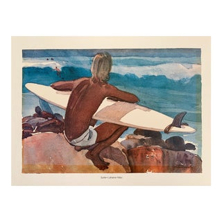 """Vintage """"Surfer Lahaina Maui"""" Watercolor Print by Vern Tremewen For Sale"""