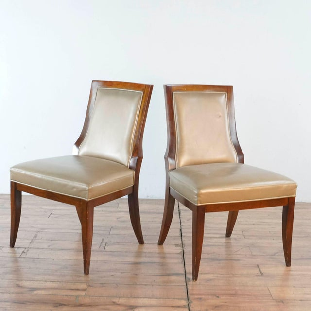 Contemporary Vintage Baker Upholstered Dining Chairs- A Pair For Sale - Image 3 of 13