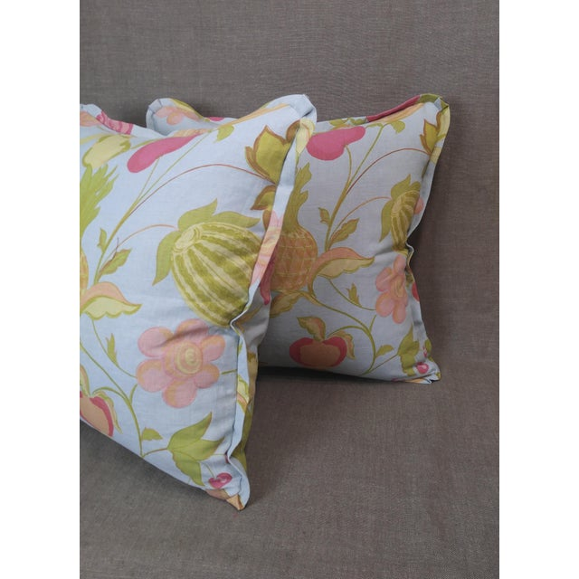 Pair of Raoul Textiles throw pillows in Miranda Linen Print, Robin's Egg colorway, flat welt with pinched corner and...
