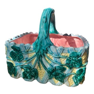 Vintage Majolica Style Faience Ceramic Ivy Basket For Sale