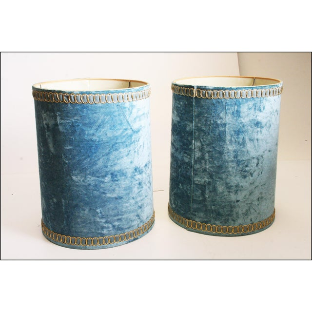 Vintage Hollywood Regency Blue Crushed Velvet Lamp Shades - A Pair - Image 8 of 10
