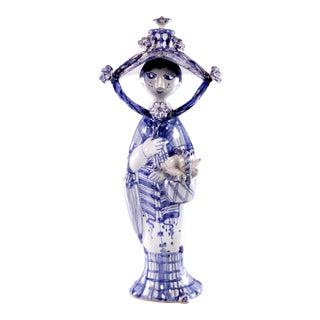 "1990s Bjorn Wiinblad Ceramic Figure ""Autumn"" in Blue For Sale"