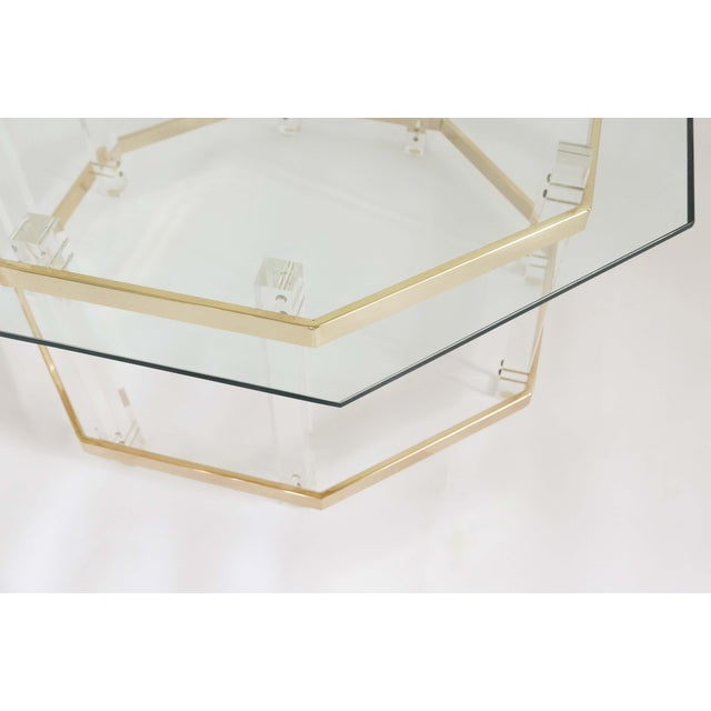 Brass 1960s Art Deco Charles Hollis Jones Brass and Lucite Octagonal Coffee Table For Sale - Image 7 of 10