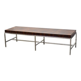 Rosewood & Chrome MCM Coffee Table For Sale