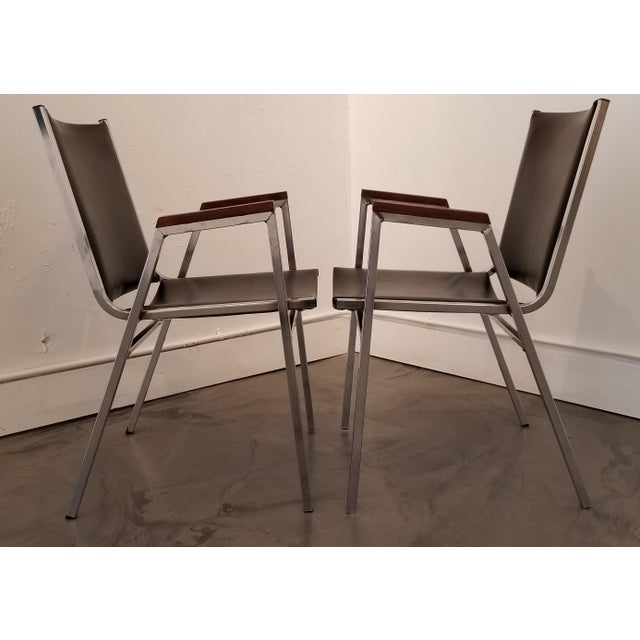 Cole Steel Chrome Industrial Modern Arm Chairs - a Pair For Sale - Image 4 of 12