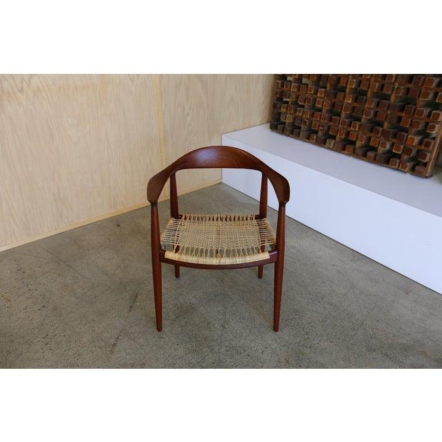 Mid-Century Modern Johannes Hansen for Hans Wegner Round Teak Side Chair For Sale - Image 11 of 12