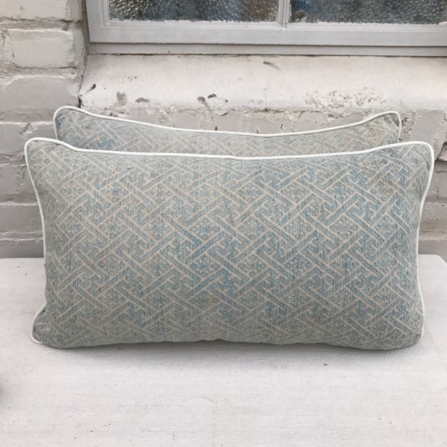 Faded Hmong Woven Pillows - a Pair - Image 2 of 5
