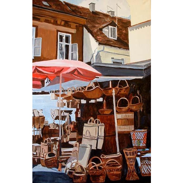 """Contemporary """"Wicker Market"""" Original Painting For Sale - Image 3 of 3"""