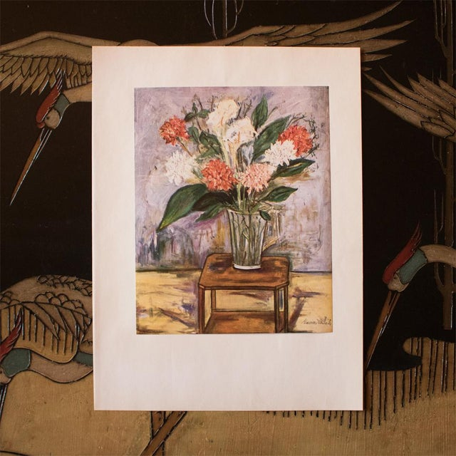 "French 1950s Maurice Utrillo, First Edition Period Lithograph ""Flower Still Life"" For Sale - Image 3 of 8"