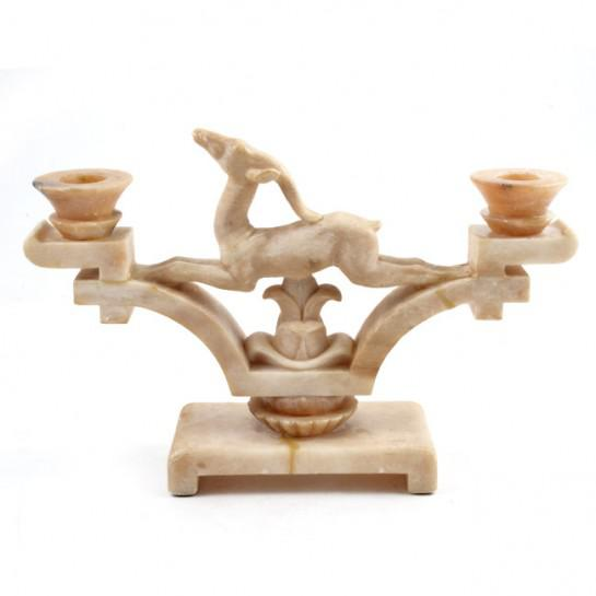 1920s Italian Art Deco Period Onyx Jumping Gazelle Candleholders - a Pair For Sale - Image 4 of 12
