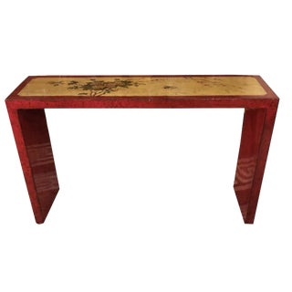 1970s Chinoiserie Parsons Painted Console Table For Sale