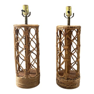 Pair of Wicker Lamps For Sale