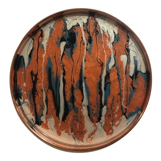 Blue Moon Art Copper Abstract Tray For Sale