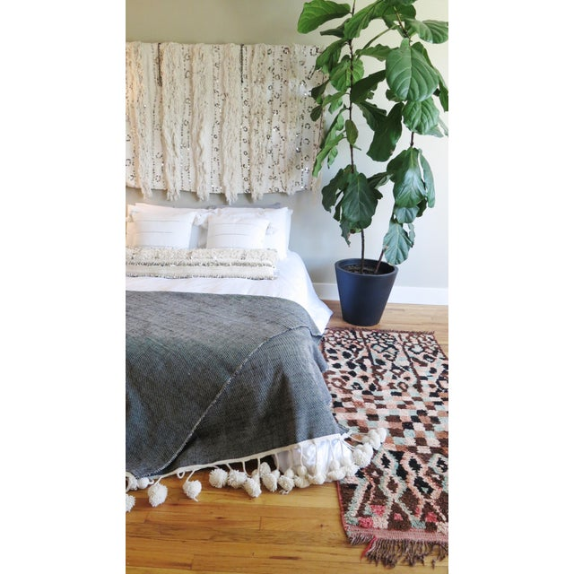 Boho Chic Moroccan Pom Blanket For Sale - Image 3 of 3