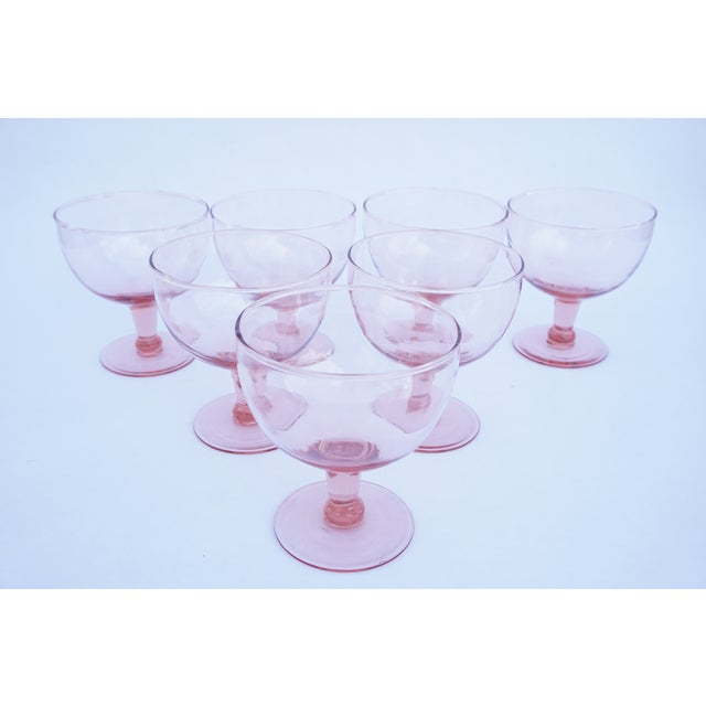 Set of 6 Vintage Pink Stemmed Glasses | Wine Goblets | Champagne Coupes | Sorbet/Berry Cups | Candy Dish ||+1 Bonus Glass Included For Sale - Image 4 of 11