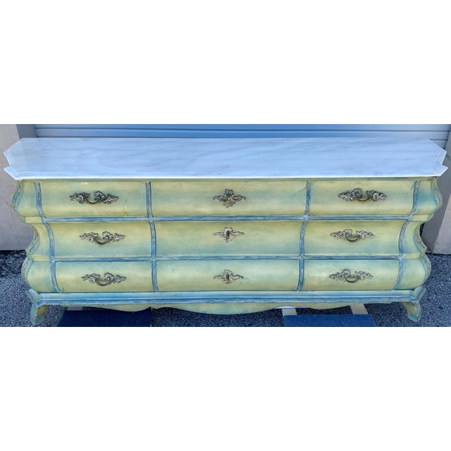 French Provincial Maslow Freen New York Design Marble Top Dresser & Mirror For Sale - Image 3 of 13