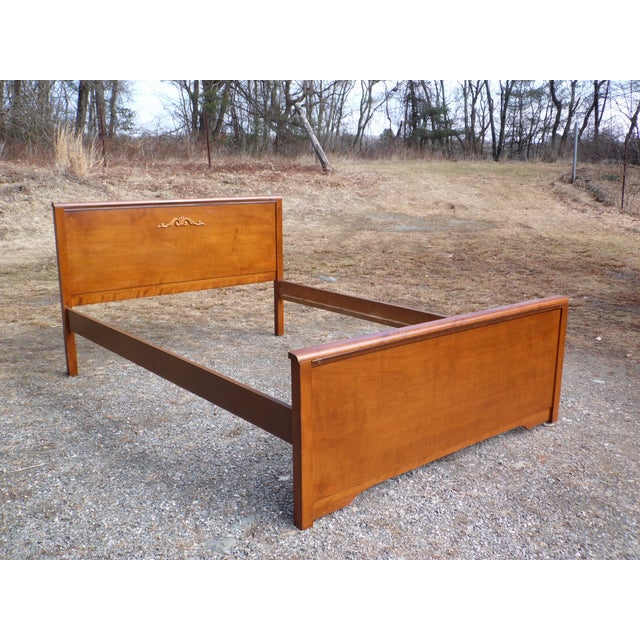 1930s Antique French Louis XVI Style Carved Solid Walnut Full Size Double Bed For Sale - Image 5 of 9
