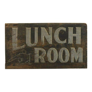 "1920s Hand Painted ""Lunch Room"" Wood Sign"