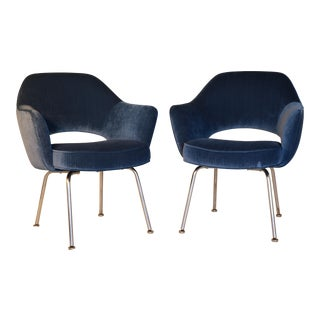 Saarinen for Knoll Blue Velvet Executive Arm Chairs - a Pair