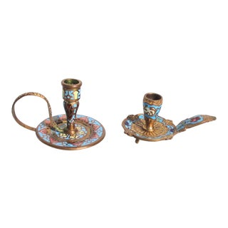 French Gilt Bronze and Enamel Miniature Candlesticks - a Pair For Sale